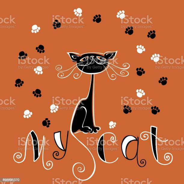 My cat lettering illustration design for postcards and printingfunny vector id898895370?b=1&k=6&m=898895370&s=612x612&h=0cqylt8ubpbdyre4mafflv rup1edzzvrkfkb1rpoy0=