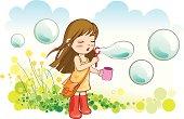Cute little girl is blowing bubbles in a harmony scene.