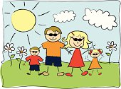 Vector file of child's drawing of family.