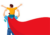 Simple flat vector cartoon of a father with red cape carry his son on his shoulders