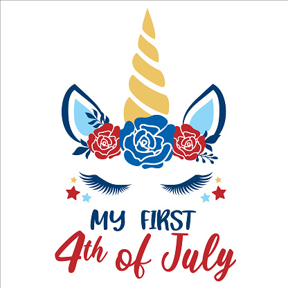 My First 4th of July lettering design illustration. American unicorn face.