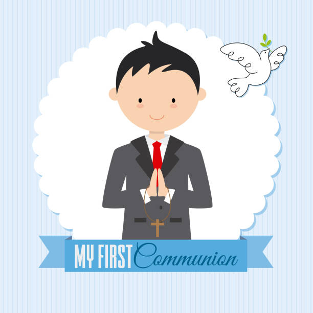my first communion boy - communion stock illustrations, clip art, cartoons, & icons