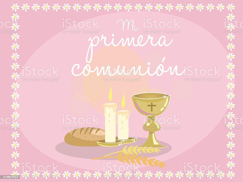 Ilustración De Mi Primera Comunión Tarjeta De Invitación