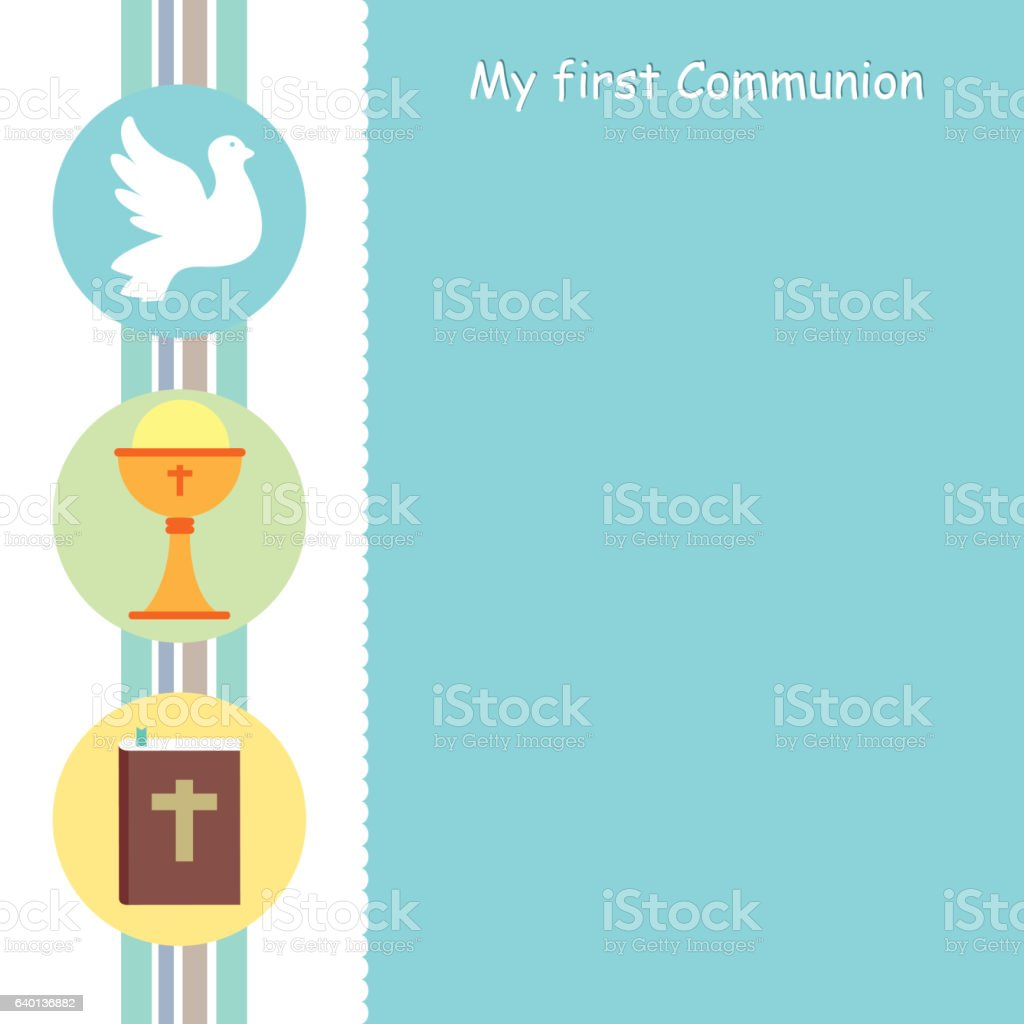 my first communion card vector art illustration