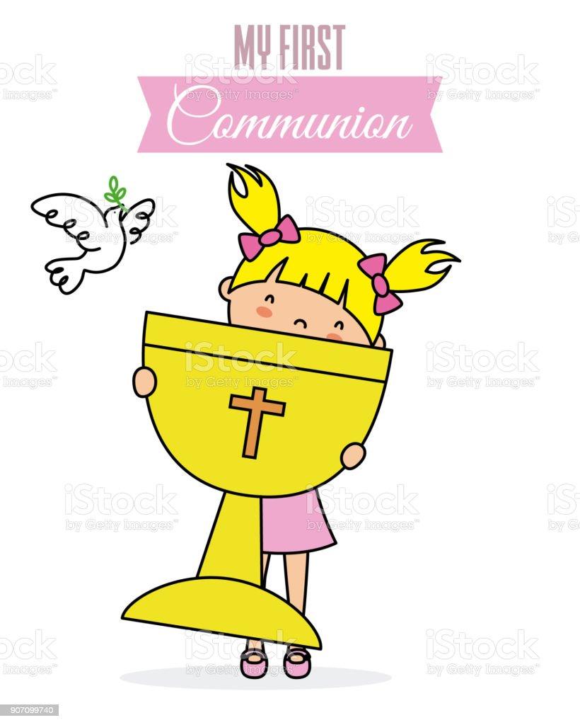 my first communion card vector art illustration