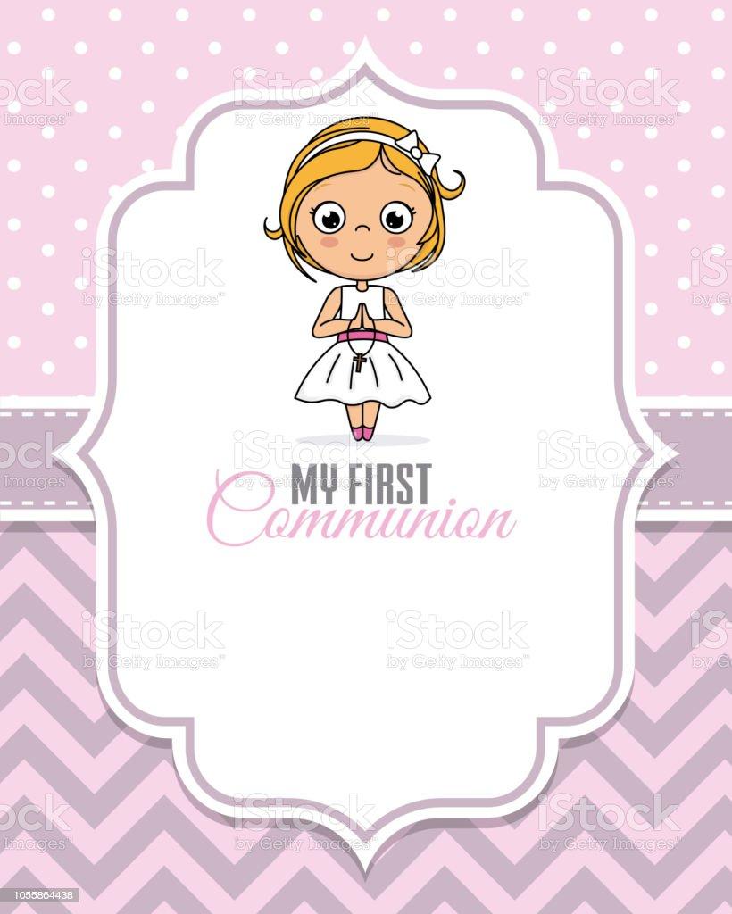 mi primera niña comunión - ilustración de arte vectorial