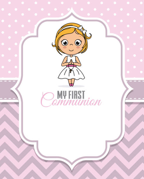 my first communion girl - baptism stock illustrations, clip art, cartoons, & icons
