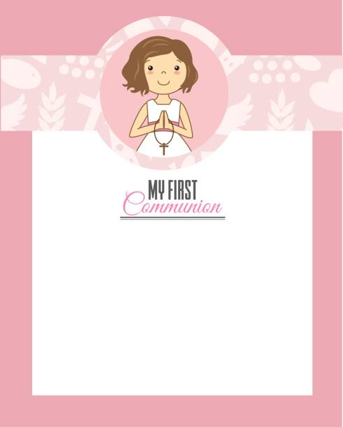 my first communion girl - communion stock illustrations, clip art, cartoons, & icons