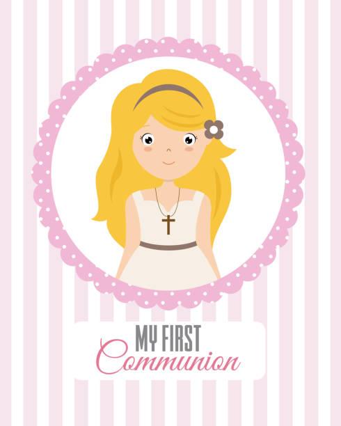 私の最初の聖体拝領の女の子 - 聖餐点のイラスト素材/クリップアート素材/マンガ素材/アイコン素材