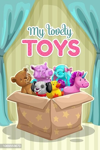 My first toy. Funny textile animal toys in the box. Plush pets collection, vector illustration.