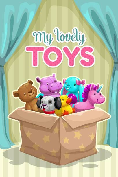 My first toy. Funny textile animal toys in the box. My first toy. Funny textile animal toys in the box. Plush pets collection, vector illustration. stuffed stock illustrations