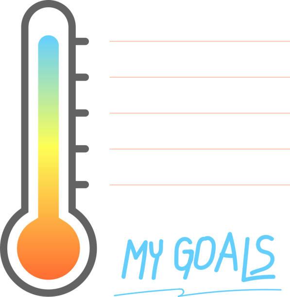我的目標可列印與溫度計標誌, 向量插圖 - 進球 幅插畫檔、美工圖案、卡通及圖標