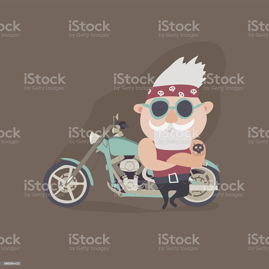 My grandfather forever young biker vector art illustration