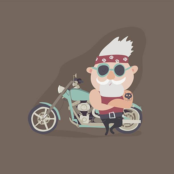ilustrações, clipart, desenhos animados e ícones de my grandfather forever young biker - viagem de primeira classe