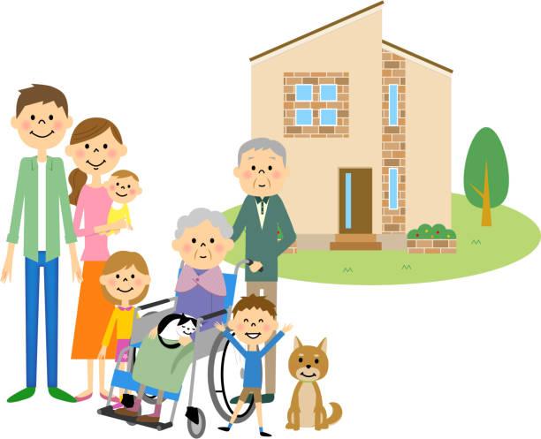 私の家と家族 - 家族 日本人点のイラスト素材/クリップアート素材/マンガ素材/アイコン素材