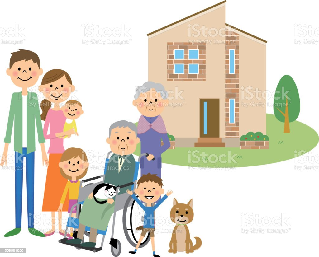 My Home and Family vector art illustration