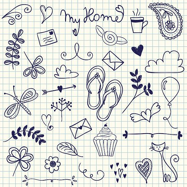 mein zuhause und kritzeleien - schulbedarfskuchen stock-grafiken, -clipart, -cartoons und -symbole