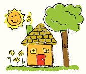 Vector image of child's drawing of home.