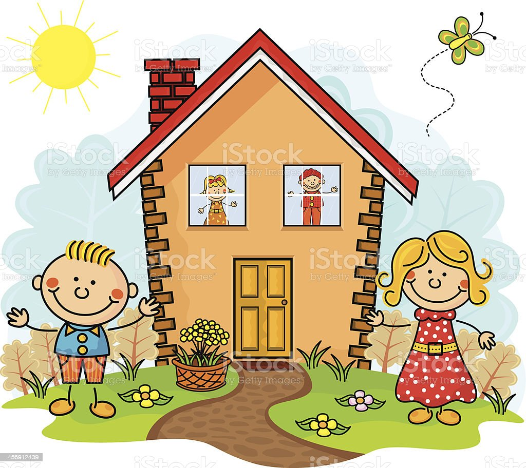 My house kids stock vector art more images of art for Picture of my home