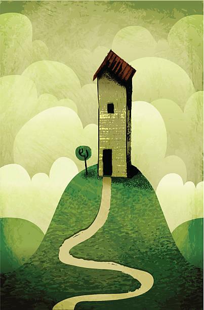 mein house on the hill - landstraße stock-grafiken, -clipart, -cartoons und -symbole