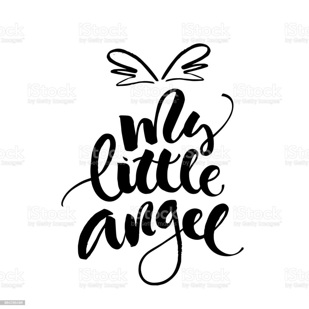 My little angel greeting card. Vector lettering for baby shower, handwritten text. royalty-free my little angel greeting card vector lettering for baby shower handwritten text stock vector art & more images of arts culture and entertainment