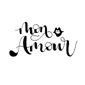 Hand drawn lettering with phrase Mon amour. My love in French.  Modern brush calligraphy. Hand lettering quote illustration. Calligraphic poster. Inspirational quote.