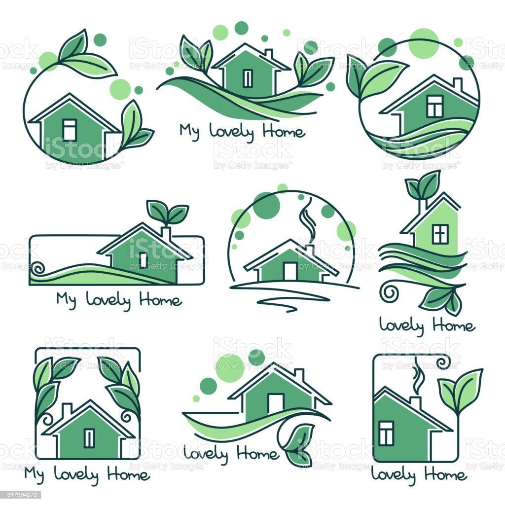 Mein Schönes Zuhause Verlässt Vektorset ökologische Häuser Grüne ...