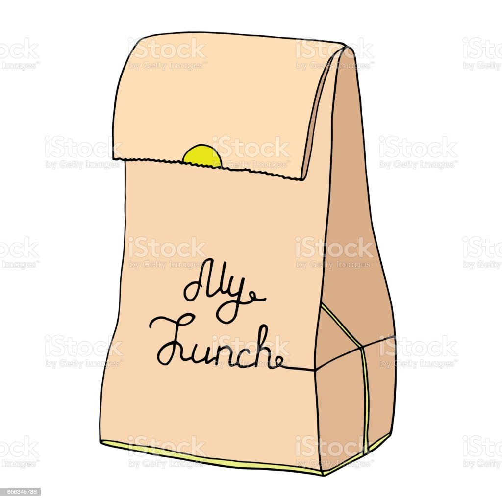 My Lunch illustration. Paper food bag with an inscription. vector art illustration
