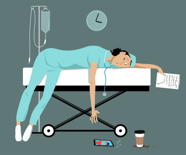 My mom is a doctor Exhausted overworked female doctor or intern lying on a gurney, her son is calling her on a smartphone, EPS 8 vector illustration mental burnout stock illustrations