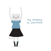 My mommy is purrfect funny Kawaii cat girl in dress with pink cheeks cartoon pet gray blue black isolated on white background. Greeting card design for your text fashion print for baby clothes. Vector illustration