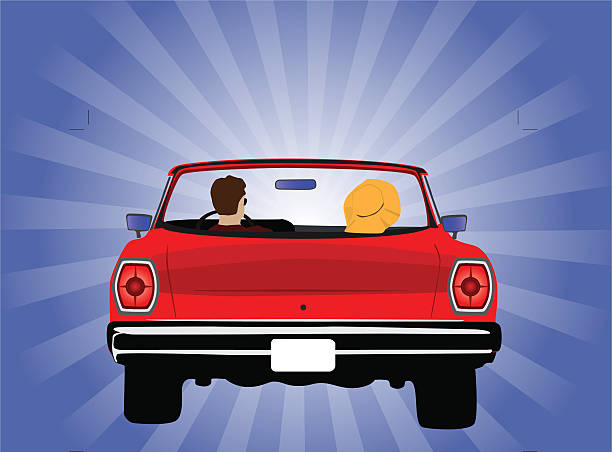 My Ride Illustration of a couple (man and women) riding in red convertible car. Viewed from the back. Illustration contains various color backgrounds you can use. convertible stock illustrations