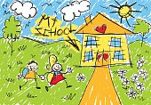 illustration of school by children drawing.