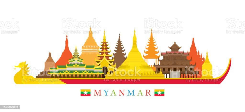 Myanmar Architecture Landmarks Skyline vector art illustration
