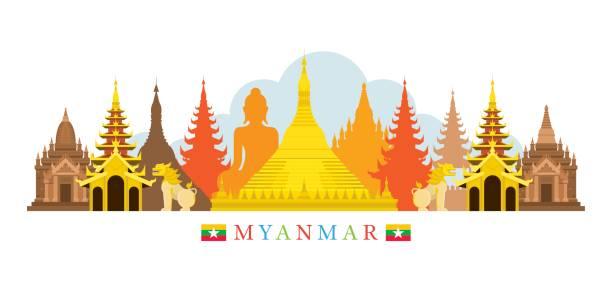 stockillustraties, clipart, cartoons en iconen met myanmar architectuur landmarks skyline - myanmar