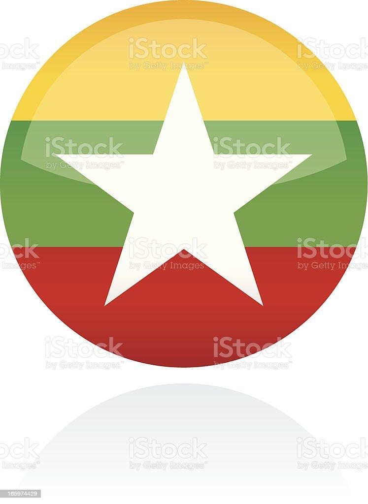 Myanmar, Asia Flag Button vector art illustration