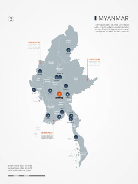 stockillustraties, clipart, cartoons en iconen met myanmar birma infographic kaart vectorillustratie. - myanmar