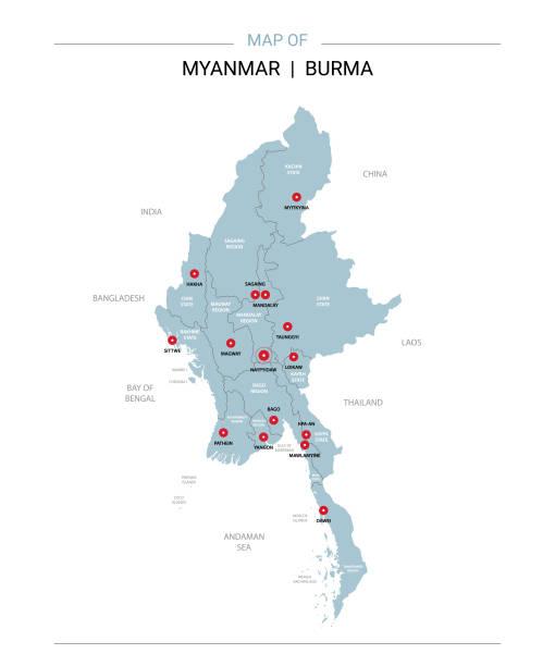 stockillustraties, clipart, cartoons en iconen met myanmar birma kaart vector met rode pin. - myanmar