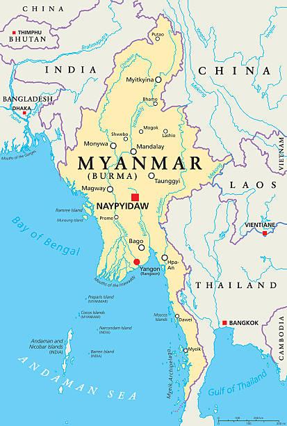 stockillustraties, clipart, cartoons en iconen met myanmar burma political map - myanmar