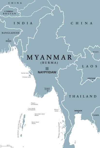 stockillustraties, clipart, cartoons en iconen met politieke kaart van birma myanmar - myanmar