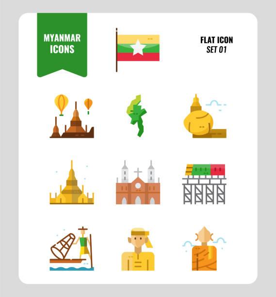 stockillustraties, clipart, cartoons en iconen met myanmar icon set 1. inclusief vlag, oriëntatiepunt, mensen, cultuur en meer. - myanmar