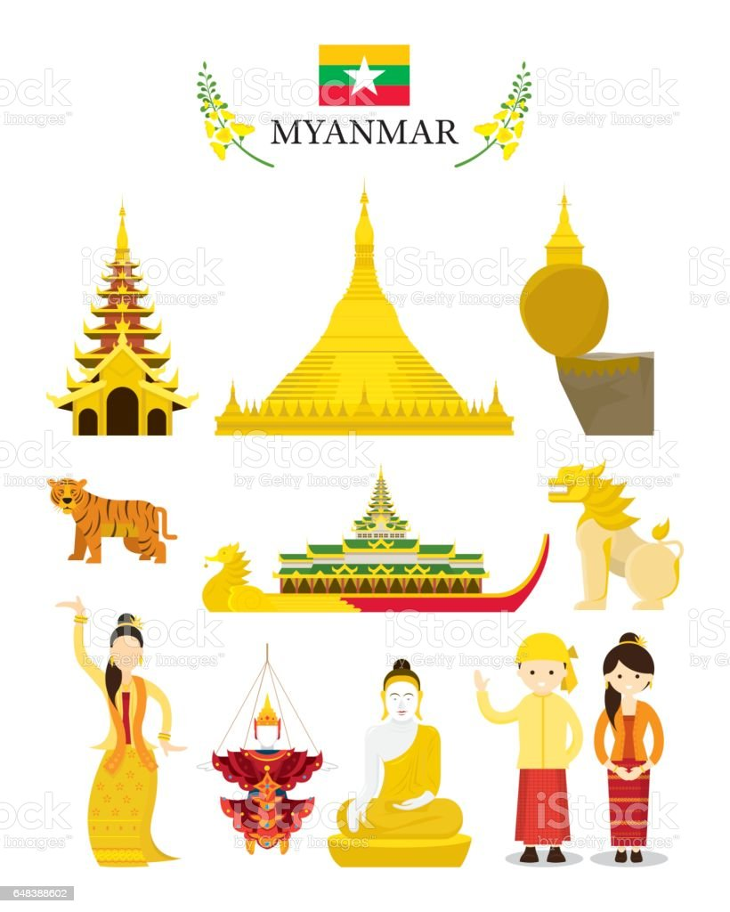 Myanmar Landmarks and Culture Object Set vector art illustration