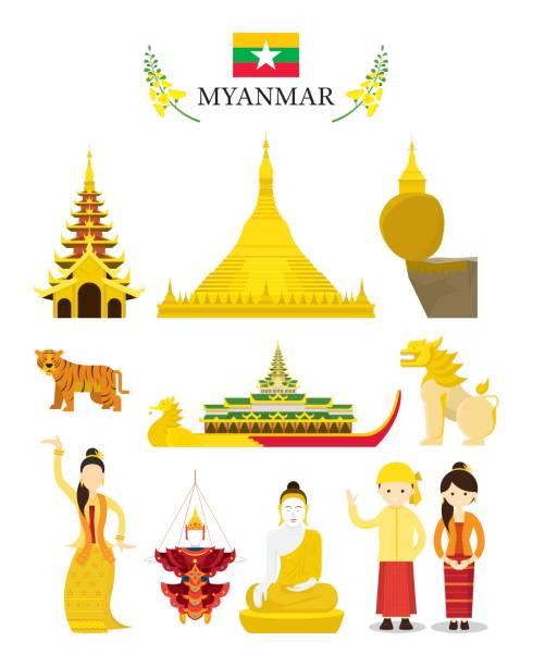 stockillustraties, clipart, cartoons en iconen met myanmar landmarks en cultuur object set - myanmar