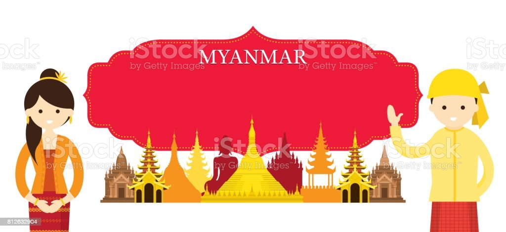 Myanmar Landmarks and people in Traditional Clothing vector art illustration