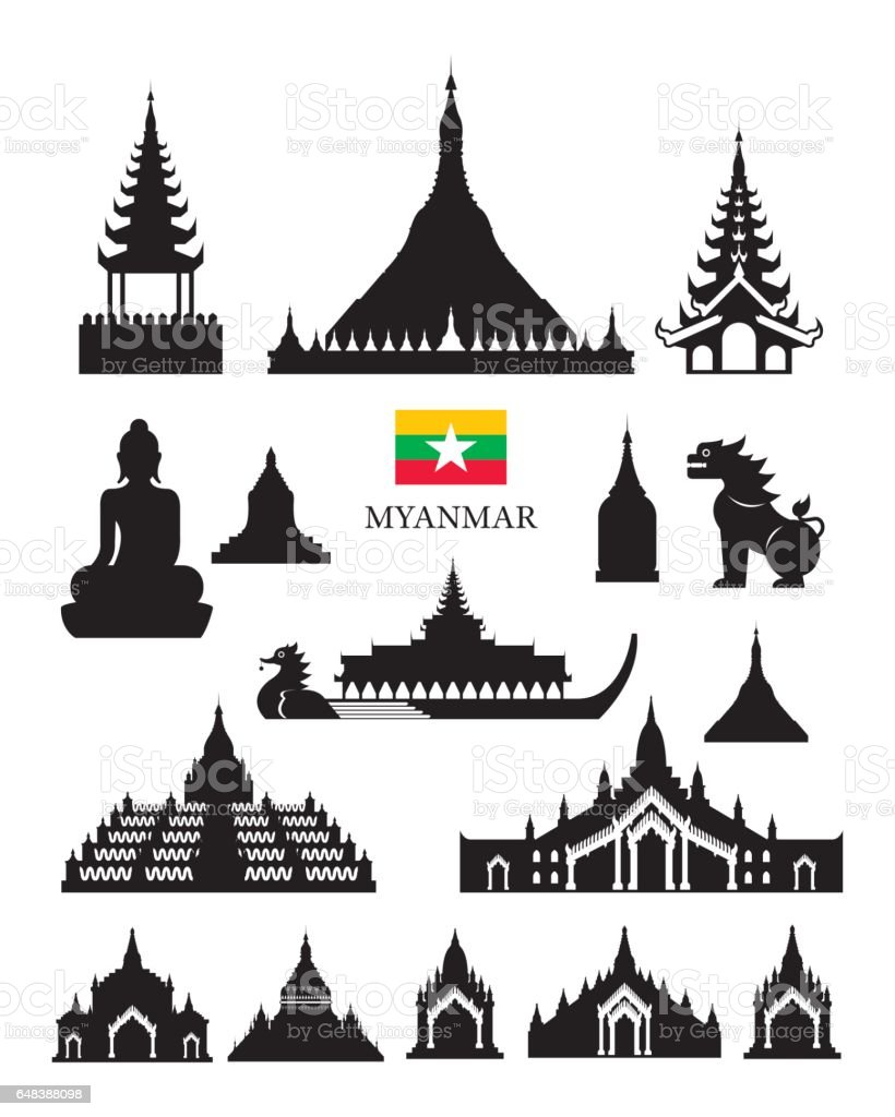 Myanmar Landmarks Architecture Building Object Set vector art illustration