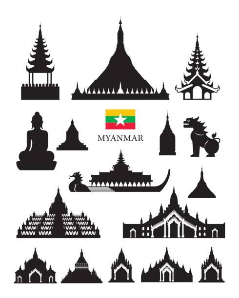 stockillustraties, clipart, cartoons en iconen met myanmar landmarks architecture building object set - myanmar