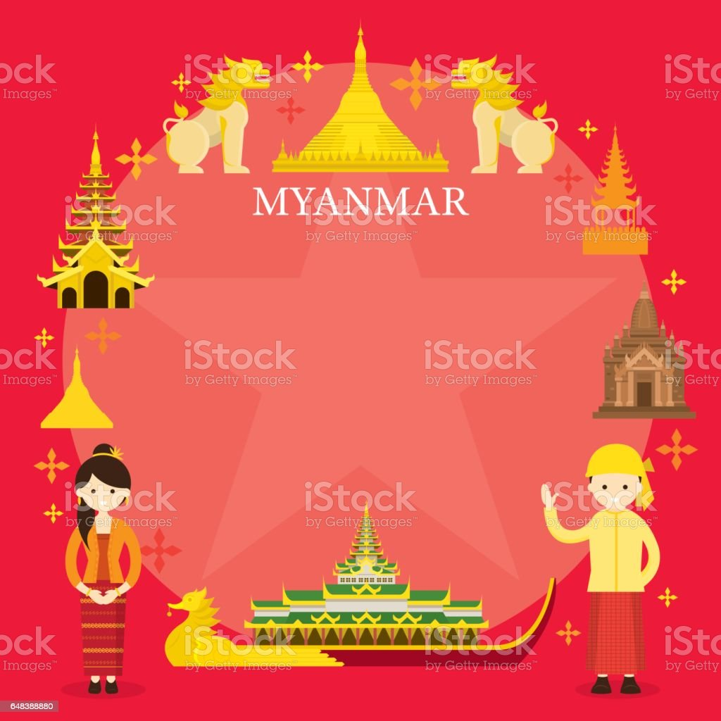 Myanmar Landmarks, People in Traditional Clothing, Frame vector art illustration
