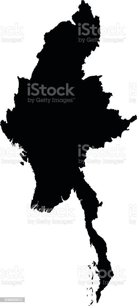 Myanmar map on white background vector vector art illustration