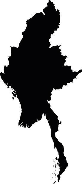 stockillustraties, clipart, cartoons en iconen met myanmar map on white background vector - myanmar