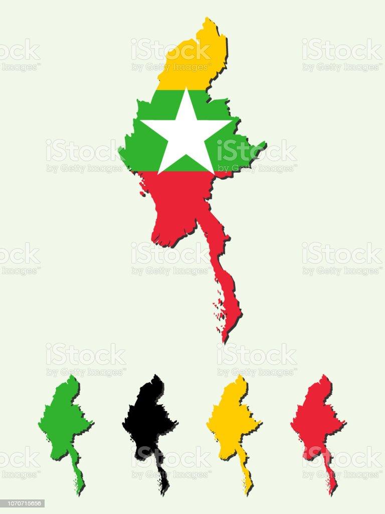 ミャンマー地図 アジア大陸のベクターアート素材や画像を多数