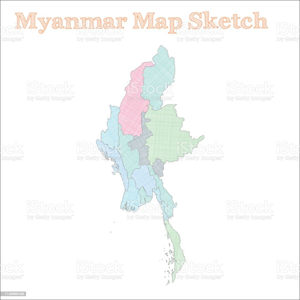 Myanmar Map Stock Illustration - Download Image Now - iStock